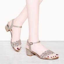 百年纪念  露趾方跟凉鞋 浅口一字式扣带女鞋 防水台女鞋子bn1901