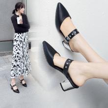 阿么包头半拖鞋女2019夏季新款时尚粗跟尖头单鞋网红穆勒鞋高跟鞋