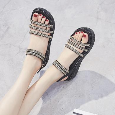 SIMIER夏季新款松糕厚底涼鞋女度假風坡跟女鞋百搭夏季涼鞋溫柔風女鞋JM525
