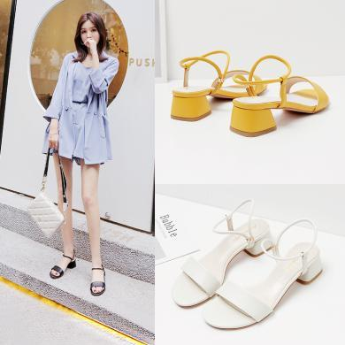 阿么女鞋2019新款涼鞋女夏時尚簡約一字帶百搭兩穿中跟粗跟涼拖鞋