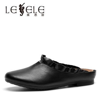 萊思麗LESELE新款真皮洞洞懶人鞋平底舒適媽媽鞋牛皮女鞋子BL91-LE5344