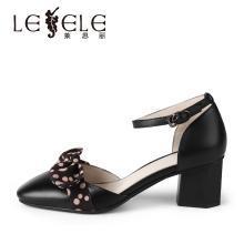 莱思丽LESELE春夏款牛皮女鞋包头粗跟职业鞋高跟中空凉鞋女KE91-LE5250