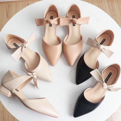 搭歌2019春夏新款防滑粗跟低跟尖頭中空女鞋文藝簡約時尚單鞋FBY903-2