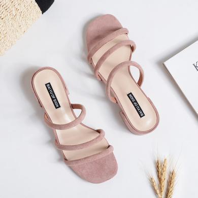 搭歌2019夏季新款涼拖拖鞋外穿涼鞋中跟百搭粗跟拖鞋女FBY3376-3