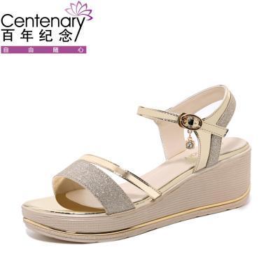 百年纪念 露趾坡跟凉鞋浅口一字式扣带女鞋防水台女鞋子 bn1916