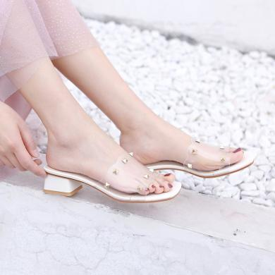 亮片铆钉拖鞋女2019新款中跟凉拖高跟粗跟凉鞋女休闲时尚外穿女鞋