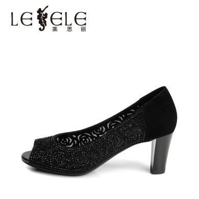 莱思丽LESELE凉鞋夏时尚鱼嘴鞋女高跟真皮洞洞女鞋露趾镂空KE91-LE5461