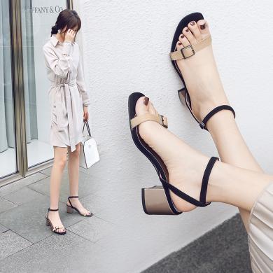 阿么2019夏季新款凉鞋女仙女风一字扣带粗跟鞋晚晚温柔百搭高跟鞋