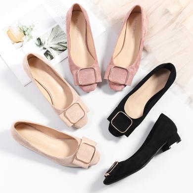 搭歌2019春季新款低跟單鞋方頭淺口單鞋方扣粗跟絨面職業女鞋FH1205-12