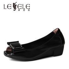 莱思丽LESELE春季新款真皮鱼嘴单鞋舒适坡跟妈妈鞋牛皮女鞋YR91-LE4657