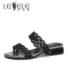莱思丽LESELE夏季新款低跟水钻女鞋 羊皮凉拖外穿一字拖鞋女KE91-LB5557