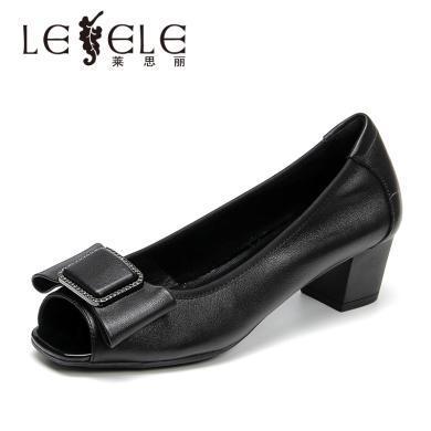 莱思丽LESELE单鞋女新款凉鞋女鱼嘴鞋粗跟中跟蝴蝶结上班鞋KE91-LE5616