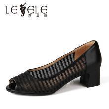 莱思丽LESELE春季新品鱼嘴单鞋?#38041;?#32844;业上班鞋粗跟真皮女鞋YR91-LE4673