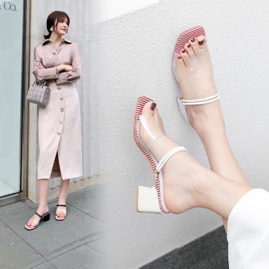 網紅一字帶兩穿涼鞋女仙女風2019年夏新款百搭超火高跟鞋粗跟亮片