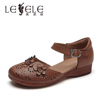 萊思麗LESELE舒適厚底鏤空真皮單鞋婆婆鞋媽媽鞋羊皮女鞋子BL91-LE5331