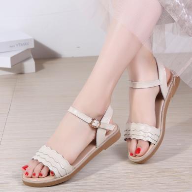 MIJI女鞋2019夏季新款涼拖鞋一字帶平底荷葉邊涼鞋AG321