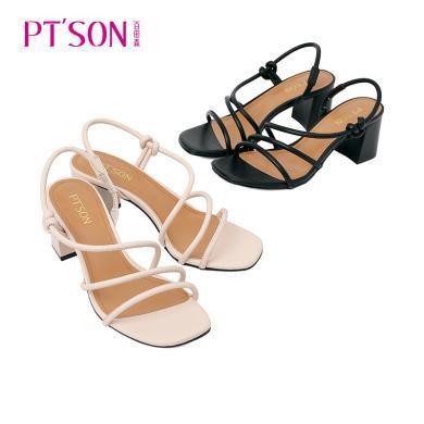 PTSON/百田森2019夏季新款女高跟露趾羅馬涼鞋女粗跟百搭性感PYQ81527