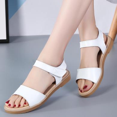 涼鞋女夏季新款一字帶春季網紅百搭學生韓版女鞋平底鞋生女鞋 MN-H324