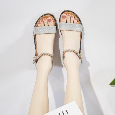 SIMIER夏季新款水钻凉鞋女度假风坡跟女鞋低跟夏季凉鞋温柔风女鞋JM199-21