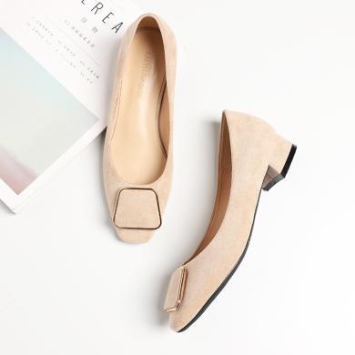 搭歌2020春季方頭高跟鞋時尚方扣簡約通勤女鞋淺口粗跟單鞋跟高2.5cm F1205-13