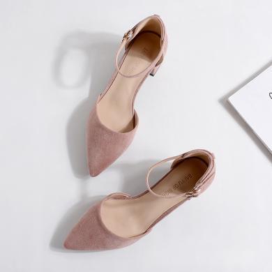 搭歌2020春季新款一字扣中空絨面單鞋中跟粗跟尖頭高跟鞋女鞋FBY166-8