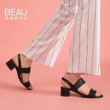 BEAU 凉鞋女夏季?#29123;?#20013;跟女鞋韩版时尚百搭粗跟罗马凉鞋31041