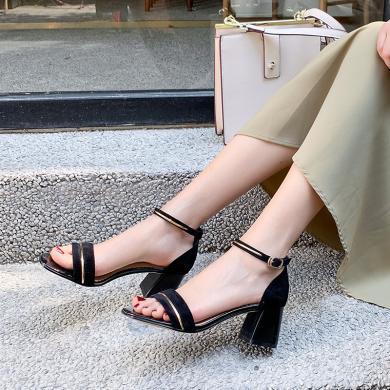 阿么女鞋2019夏新款網紅涼鞋女學生百搭舒適粗跟鞋通勤時尚高跟鞋