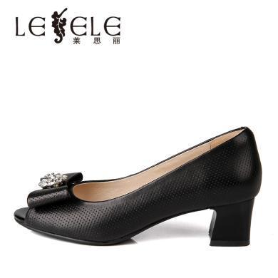 萊思麗LESELE春季新品魚嘴單鞋透氣職業上班鞋粗跟羊皮女鞋YR91-LE4672