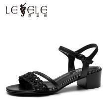 莱思丽LESELE夏季新款女鞋露趾凉鞋女拼色中跟鞋钻饰粗跟鞋KE91-LB3382