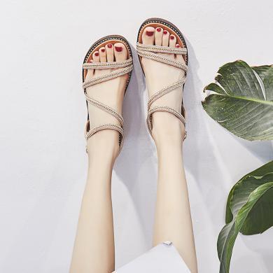 SIMIER夏季新款松糕厚底涼鞋女度假風坡跟女鞋百搭夏季涼鞋溫柔風女鞋JM527(黑色預售7天)