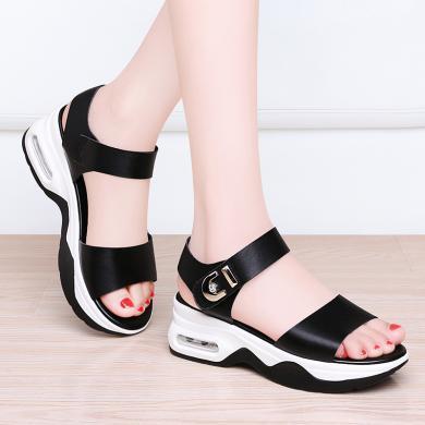 百年紀念 厚底涼鞋露趾坡跟涼鞋淺口一字式扣帶厚底坡跟舒適涼鞋bn1951