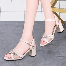 古奇天倫2019夏季新款魚嘴網紗透氣高跟鞋露趾粗跟涼鞋一字式扣帶鞋女9501