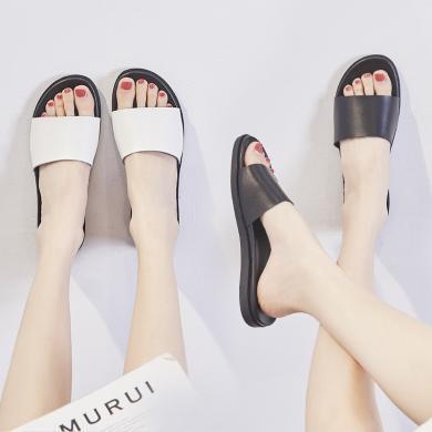 ZHR新款夏季網紅拖鞋女外穿可濕水時尚白色一字平底涼拖女鞋