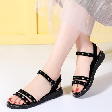 夏季休閑平底鉚釘星星底涼鞋女鞋孕婦鞋平底鞋單鞋 MN9601