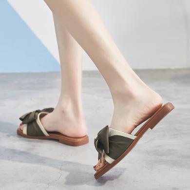 ZHR新款夏一字拖鞋女外穿平底低跟蝴蝶結仙女百搭休閑涼拖女