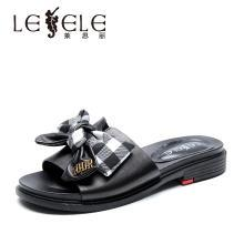 萊思麗LESELE夏季休閑女拖鞋子 新款羊皮一字拖女平跟涼拖鞋KE91-LB5888