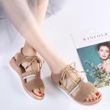 韩版时尚交叉休闲女凉鞋反绒皮复古罗马风绑带凉鞋女鞋  MN2412