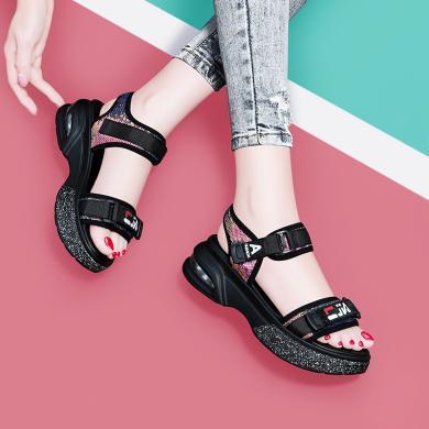 古奇天倫2019夏季新款厚底學生通勤松糕鞋涼鞋魔術貼拼色鞋女鞋9471