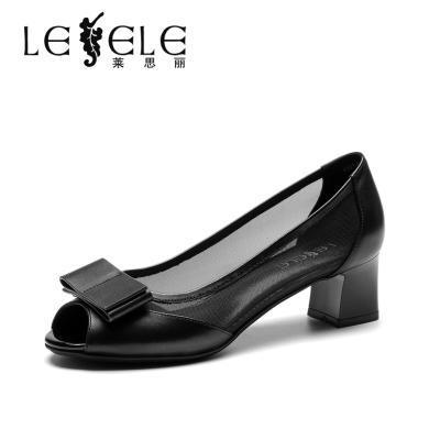 莱思丽LESELE单鞋女夏新款凉鞋女 鱼嘴鞋粗跟中跟蝴蝶结鞋女KE91-LE4619