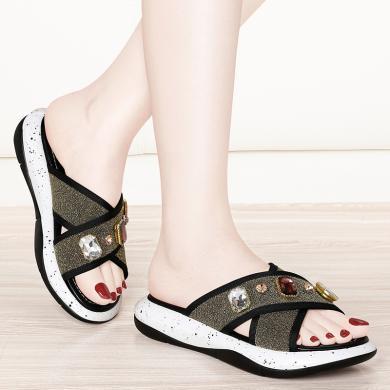 金絲兔涼拖女夏季新款外穿輕便舒適運動松糕便利平底休閑女鞋涼鞋女