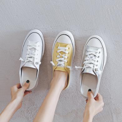 2019夏季新款半拖鞋女超纖皮鞋一腳蹬無后跟懶人鞋網紅軟底休閑鞋