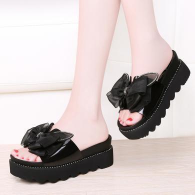百年紀念   一字型坡跟涼拖蝴蝶結設計女鞋防水臺女鞋涼拖子bn1961