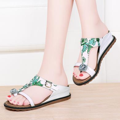 百年紀念  套趾坡跟平底涼拖套腳時尚女鞋印花小清新bn1952