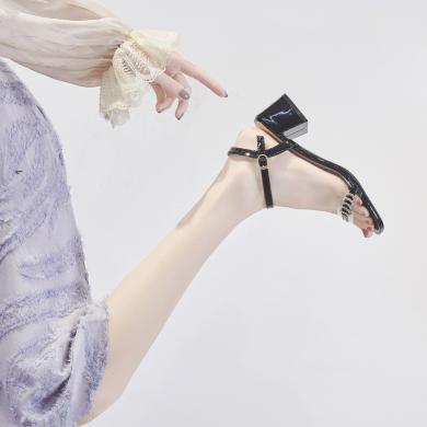 ZHR夏新款粗跟涼鞋女透明中跟一字細帶學生小清新高跟鞋少女