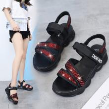 夏季凉鞋休闲鞋女鞋子凉鞋韩版时尚潮沙滩鞋布露趾中跟松糕鞋 MN897