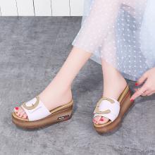 古奇天倫2019夏季新款魚嘴厚底防水臺露趾坡跟拖鞋一字拖鞋女9466