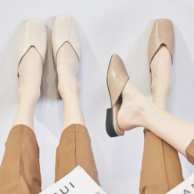 ZHR包头半拖鞋女外穿新款网红时尚中跟方头凉拖鞋懒人穆勒鞋