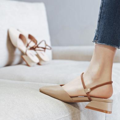 ZHR新款夏季包头凉鞋女仙女风中跟粗跟玛丽珍单鞋女百搭网红女鞋