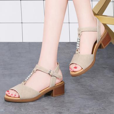 古奇天倫 新款涼鞋女夏季露趾方跟涼鞋丁字式純色涼鞋子女 GQ/9504