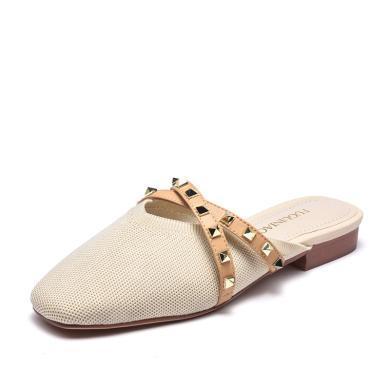 富贵鸟凉拖鞋女粗跟包头穆勒鞋半拖鞋 K99P821E